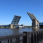 The Veteran's Memorial Bridge raised to allow the Princess Wenonah to pass through