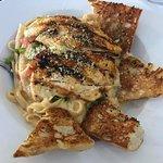 Fettucine with grilled chicken.