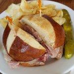 Ham and Cheese on a Pretzel Bun