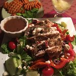 Greek salad and sweet potato fries! Yummy!
