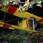 Plane that hangs from ceiling in Bill's dining room