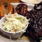 BBQ chicken and ribs with aked sweet potato