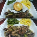 Dinner was delicious!!! Pepper Steak w/rice, mac & cheese and greens beans and corn muffin...