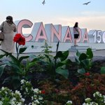 Canada 150 anniversary sign along the Niagara Falls, but close to Horseshoe Falls