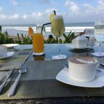 Beachside breakfast each morning; loved the juice menu!