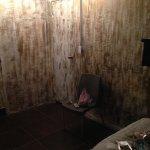 Hideous streaked walls. Supposedly dark gold - looked more like poop..
