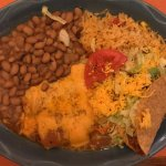 #19 Plate - 2 Enchiladas, 1 Taco, Whole Beans and Rice - Very Good!