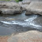 Water gently flowing in shallow areas