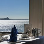 Breakfast table overlooking St Michaels Mount