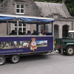 The trailer that you can ride on from the carpark to the castle.