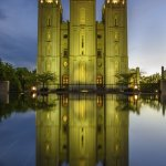 Beautiful reflection - just note that the building is quite tall and only an ultra-wide lens wil