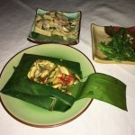 vegetables & mushrooms in banana leaf