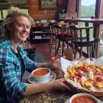 Biggest plate of nachos ever! And the soup warmed us up after hiking around Summit Lake.