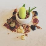 Meringue, Blueberry, Salted Granola, Pickled Whitecurrants, Green Apple Sorbet