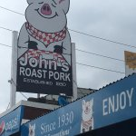 John's Roast Pork signage.
