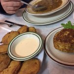 Delicious crab cakes, Maryland crab soup and fried green tomatoes with delicious southern sweet