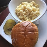 Grass fed beef hamburger and gouda mac and cheese - sweet pickles good but overwhelming on burge