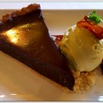 The Warm Chocolate tart with Pistachio ice cream