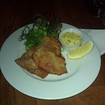 Breaded sole with greens and a side of Danish remoulade - yum!