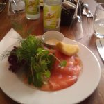 Laks smorrebrod - the bread is hidden under the generous helping of salmon