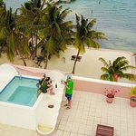 Roof top hot tub and terrace from a drone