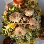The Pan-seared Shrimp and Scallops over Pasta