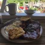 Steak and Eggs and Excellent Coffee/ Beef is cut on site and was excellent