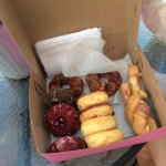 Chocolate maple bacon, devil's food, red velvet, glazed, raspberry filled & cinnamon twists