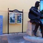 Right around the corner this statue of Cristie Henessy.