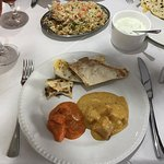 curries, naan, and rice