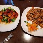Volcano shrimp on left Mongolian Chicken on right