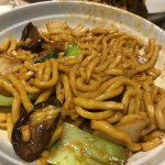 Vegetable Thick Noodles with very litle veggies