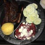 Beet Salad, Ribs, Cucumber Salad, and Cornbread