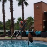 38 yrs old Uncle Seth & 8 yr old Micaiah flipping into the pool