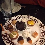A lovely birthday surprise plate for my boyfriend from the staff.