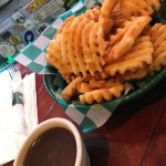 Hot, meaty waffle fries with gravy - delicious!