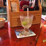 Vodka on the rocks with 2 limes - a generous pour.