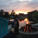 Bonfires with a sunset view.