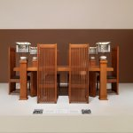 The original dining room set from Frank Lloyd Wright's nearby Robie House is almost always on vi