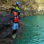 Jumping into the Blue Lagoon with Rob above.