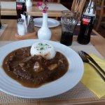 Rostbraten mit Reis und Pilzen