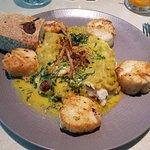 Sea Scallops over mashed potatoes, puree pea and spinach