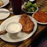 Shrimp, chicken fried chicken, and Philly cheese steak