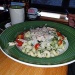 Steak and beans soup, Mozarella sticks, Chicken bacon wrap, Spinach cavatappi