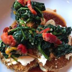 Eggplant with spinach, roasted red peppers, goat cheese, gnocchi and red sauce. Amazing.