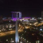 Night view of Marina Bay Sands from balcony