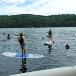 Paddleboarding and Swimming