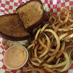 Rueben and homemade spiral fries