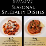 Specially created seasonal dishes