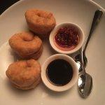 Crispy organic saltbush cakes with chili sauce & tamari